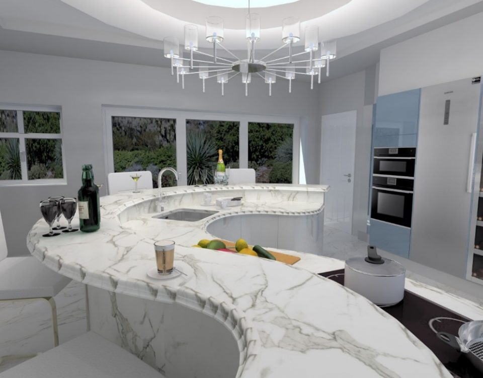 A Unique Kitchen Island in the West Midlands